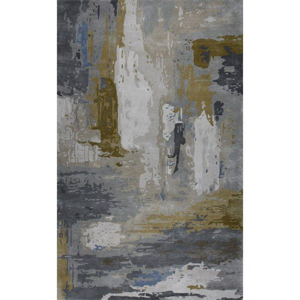 Ash Gray, Charcoal, Stallion Brown and Cerulean Hand-Tufted Contemporary Wool and Viscose Rug