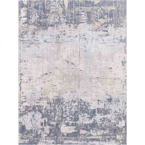 Picture of Dark Blue and Off-White Machine Tufted Polypropylene Rug
