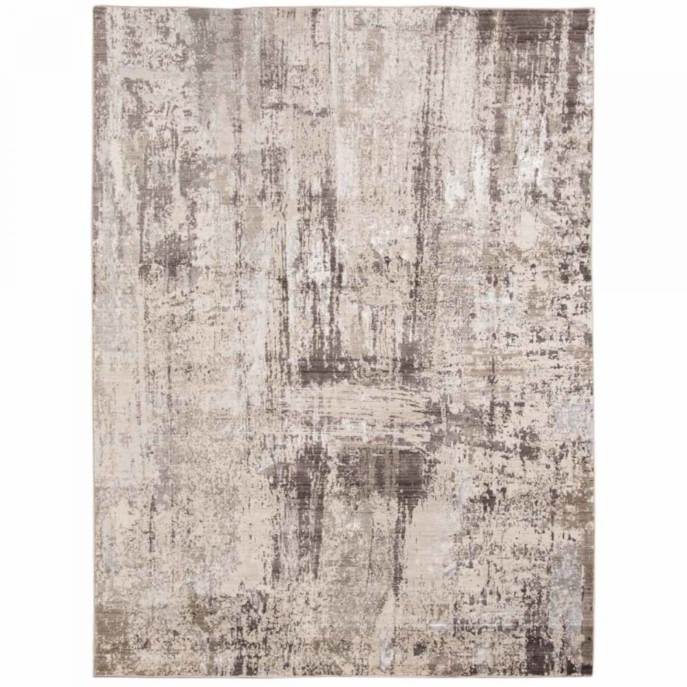 Charcoal and Off-White Machine Tufted Polypropylene Rug