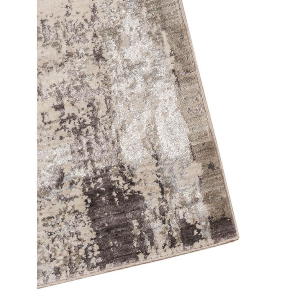 Charcoal and Off-White Machine Tufted Polypropylene Rug 3