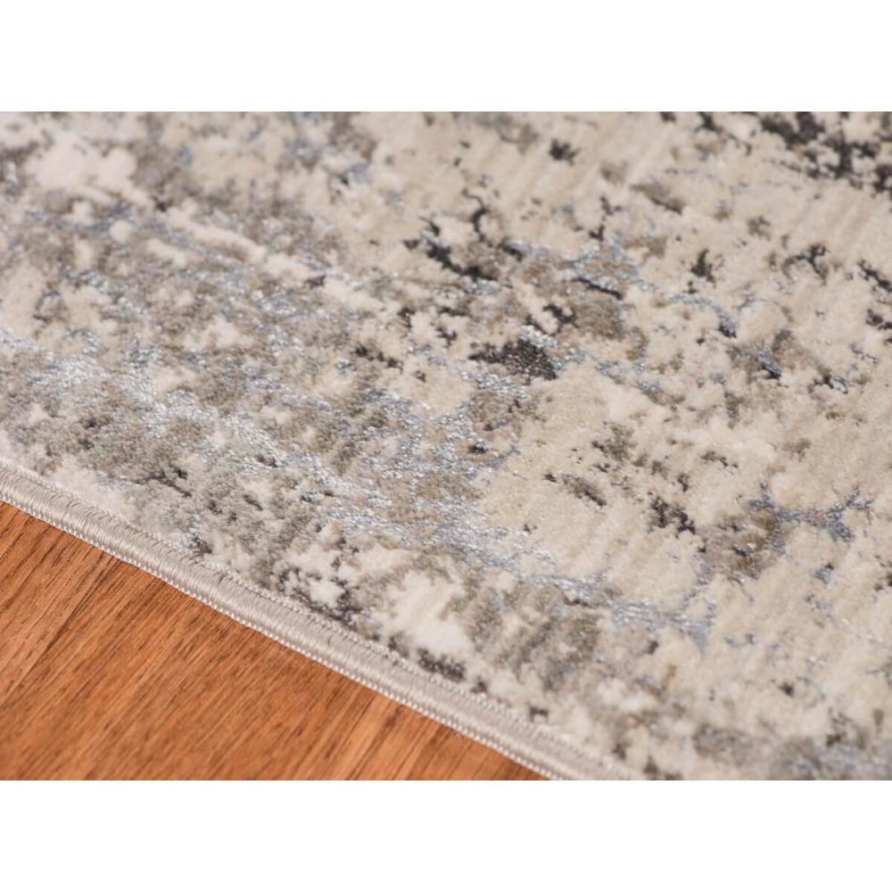 Charcoal and Off-White Machine Tufted Polypropylene Rug 5