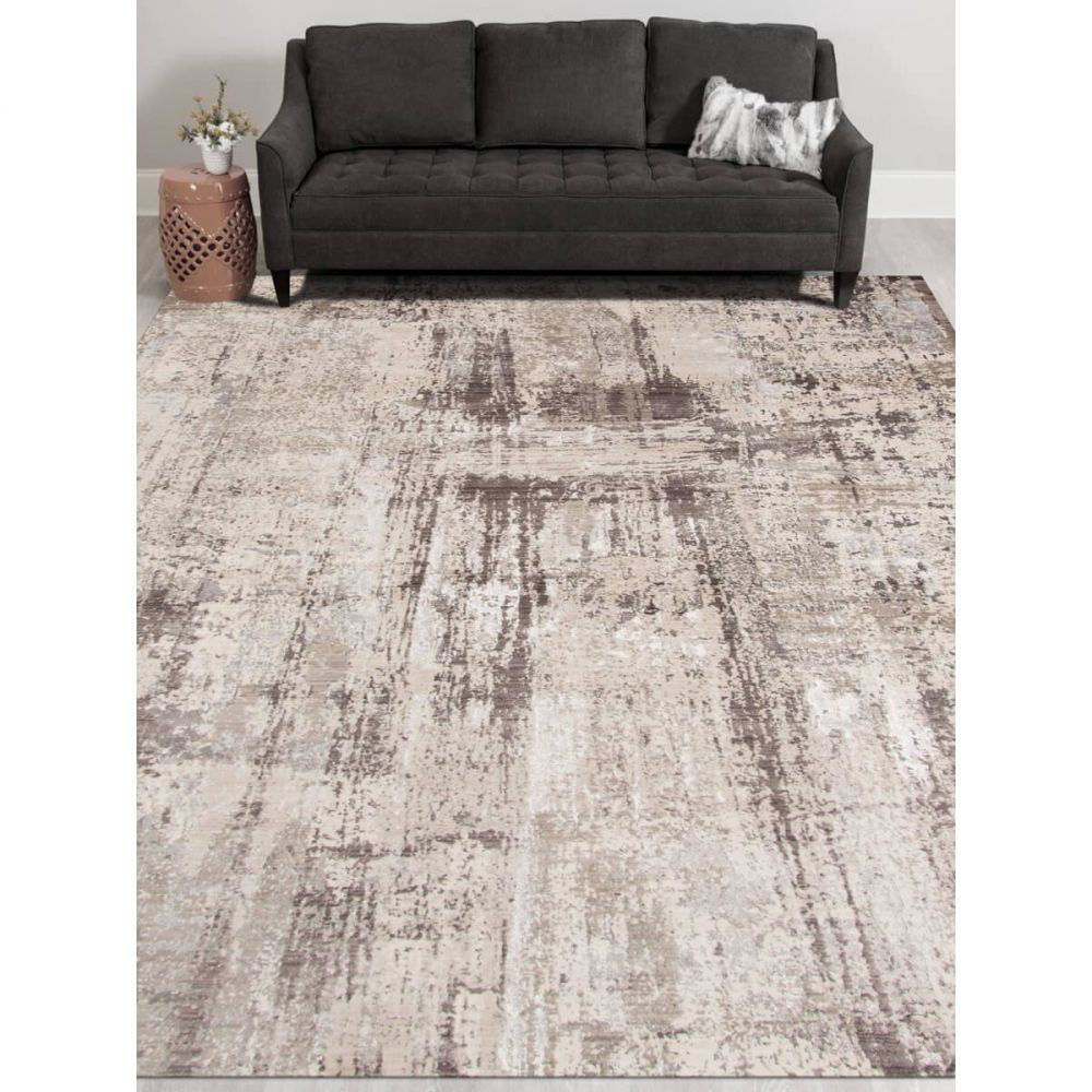 Charcoal and Off-White Machine Tufted Polypropylene Rug 6