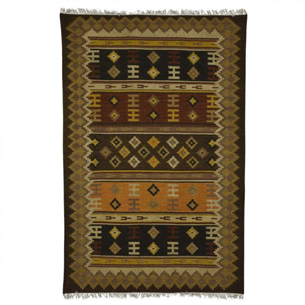 Multi-Colored Browns, Orange and Red Hand Woven Wool Rug