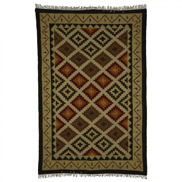Gold, Brown, Red and Black Hand Woven Wool Rug