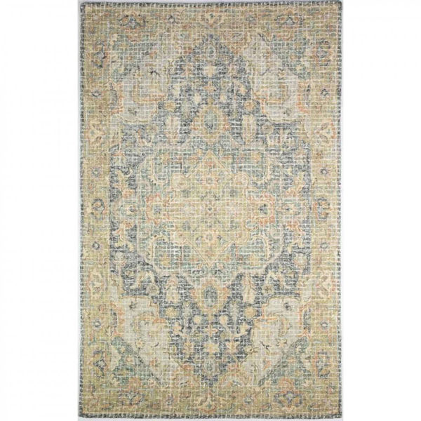 Picture of Olive, Blue, Orange and Off-White Hand Tufted Wool Rug