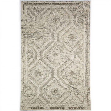 Off-White, Gray and Brown Hand Tufted Wool Rug