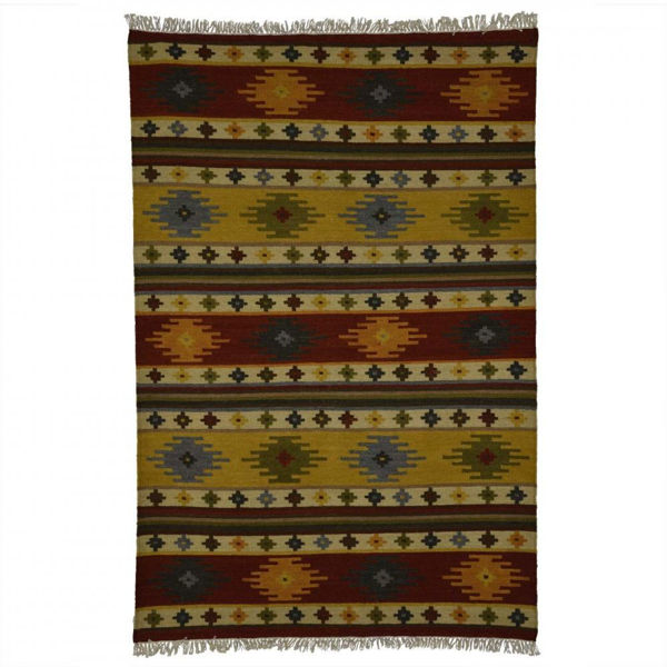 Multi-Colored Red and Yellow Southwest Hand Woven Wool Rug