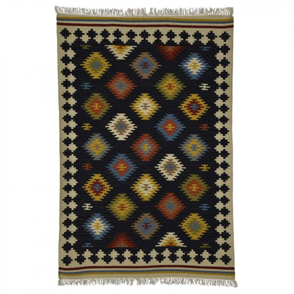 Multi-Colored Hand Woven Wool Rug