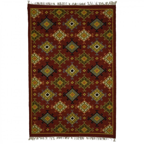 Red and Gold Hand Woven Wool Rug