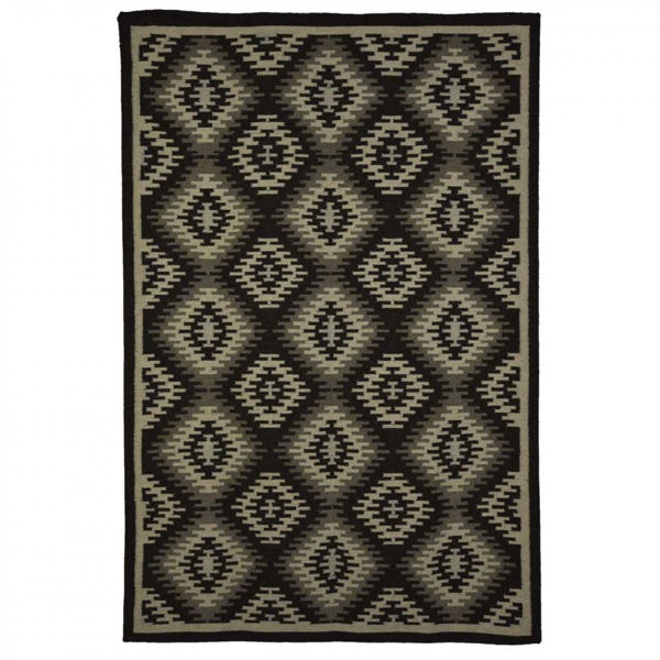 Black, Ivory and Gray Hand Woven Wool Rug