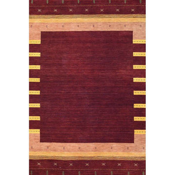 Ruby Red and Golden Hand-Knotted Southwestern Wool Rug