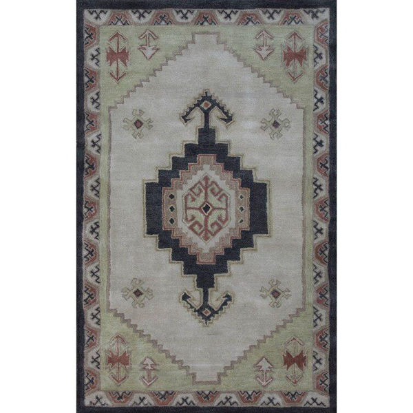 Rose, Sage and Olive Brown Hand-Tufted Southwest Wool Rug