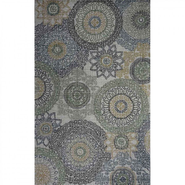 Multi-Colored Blue, Gray and Green Machine Tufted Wool Rug