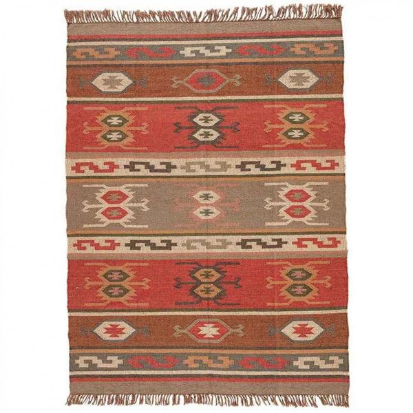 Red, Brown and Tan Flatweave Wool Rug