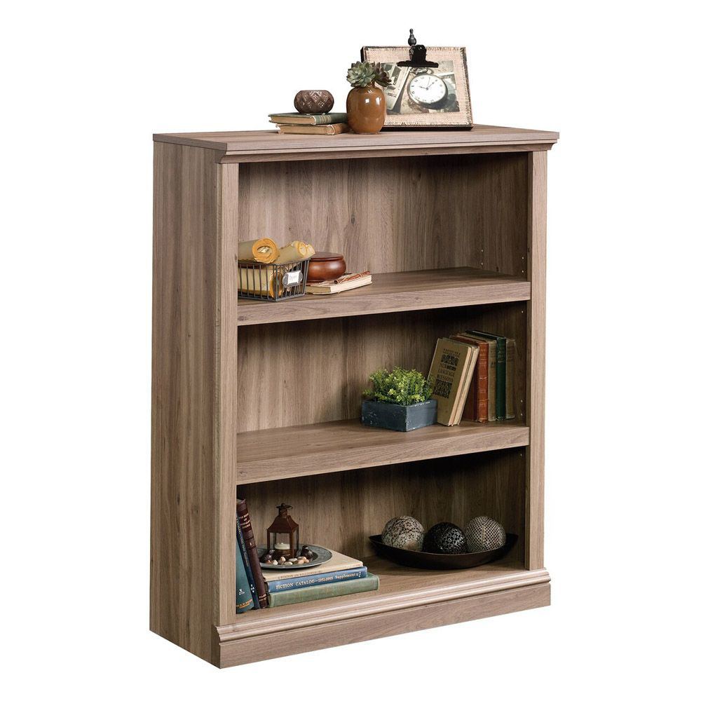 3-Shelf Bookcase - Salt Oak - Shown With Accessories
