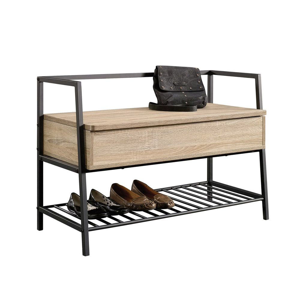North Avenue Storage Bench - Charter Oak - Shown With Accessories