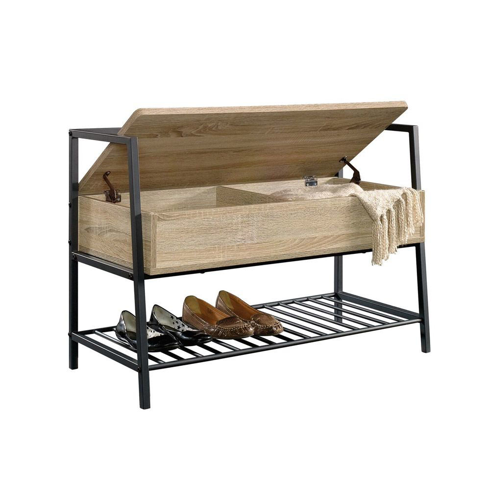 North Avenue Storage Bench - Charter Oak - Shown With Accessories Open