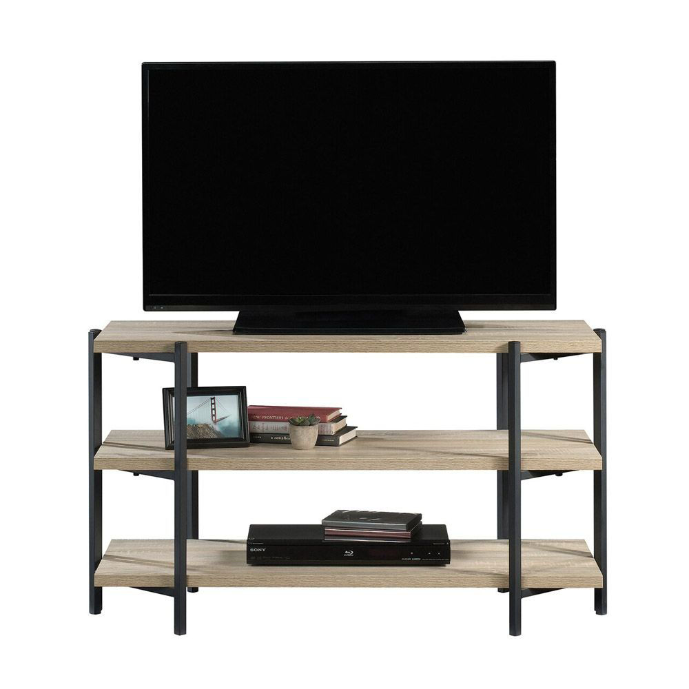 North Avenue Console - Charter Oak - Shown With TV And Accessories Head On View
