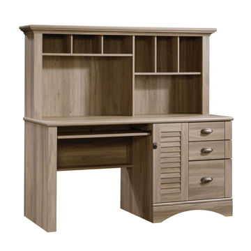 Harbor View Computer Desk With Hutch - Salt Oak
