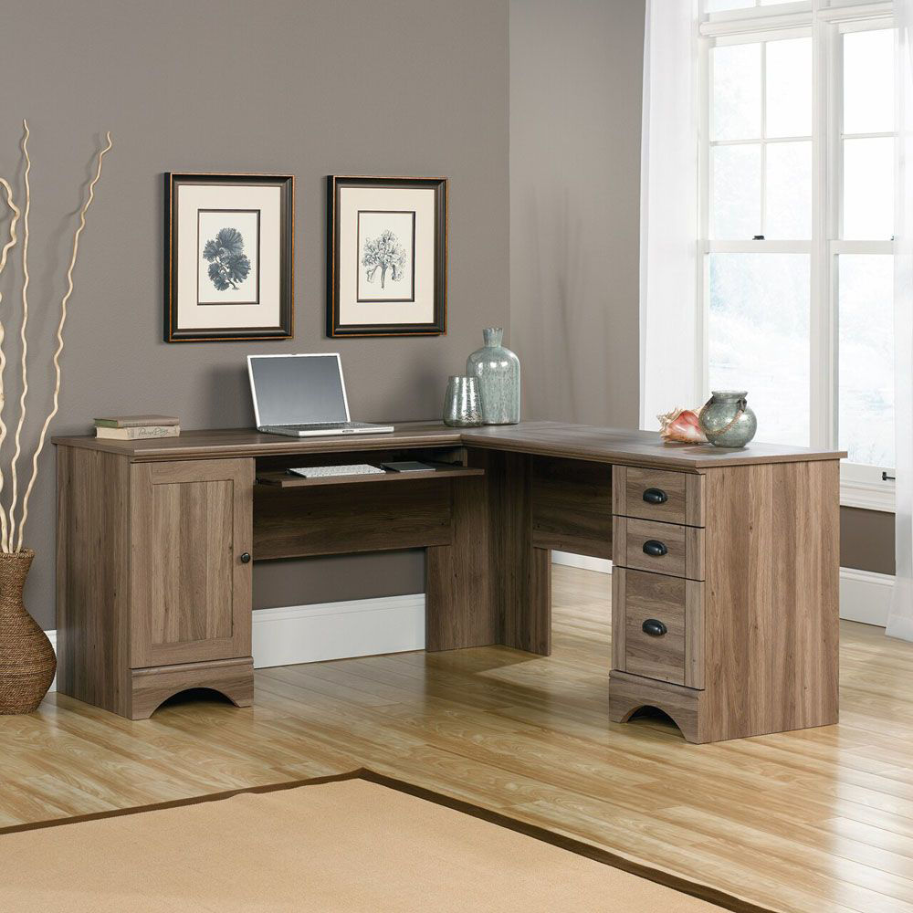 Harbor View Corner Computer Desk - Salt Oak - Shown With Accessories Not Included - Lifestyle