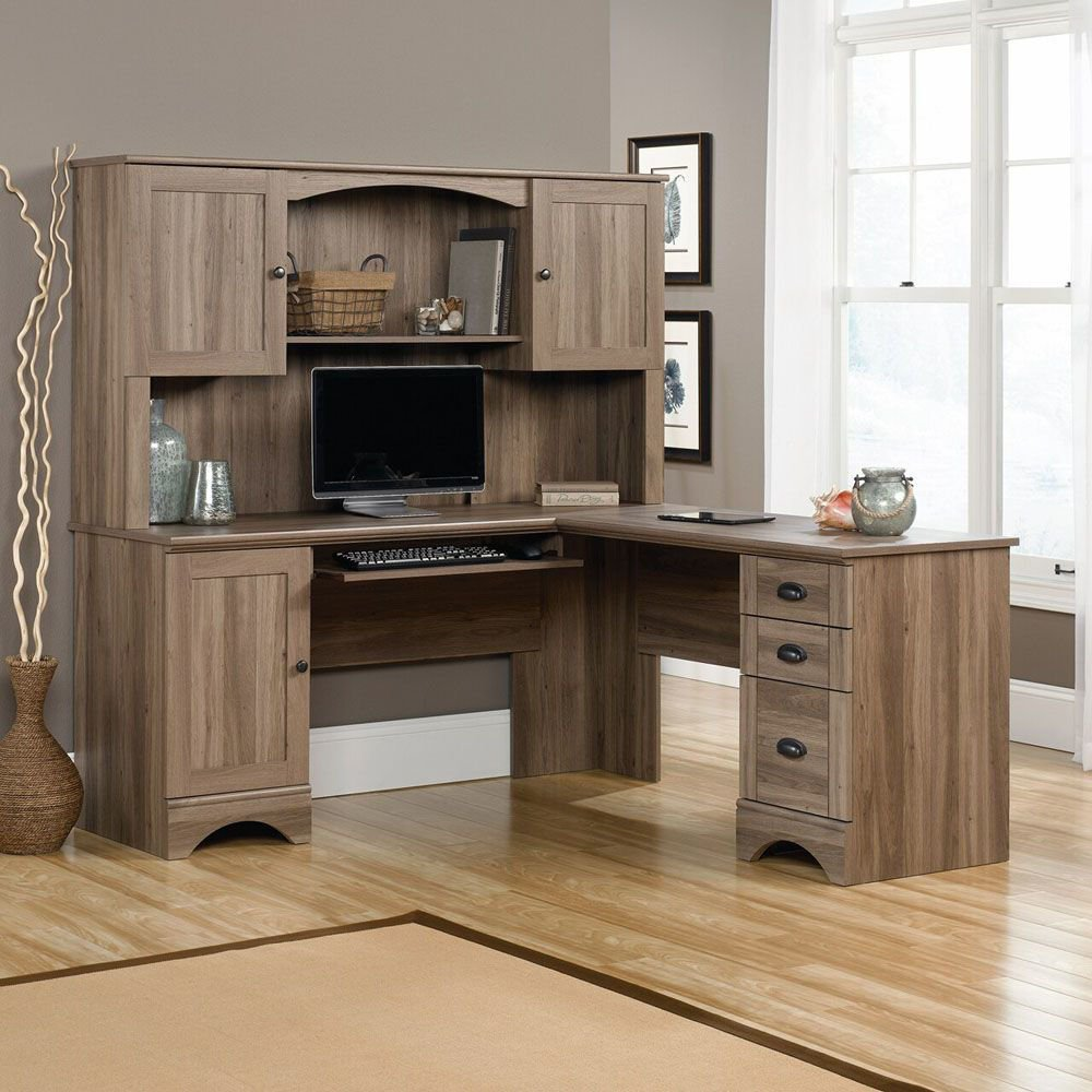 Harbor View Corner Computer Desk - Salt Oak - Shown With Accessories Not Included - Hutch Sold Separately
