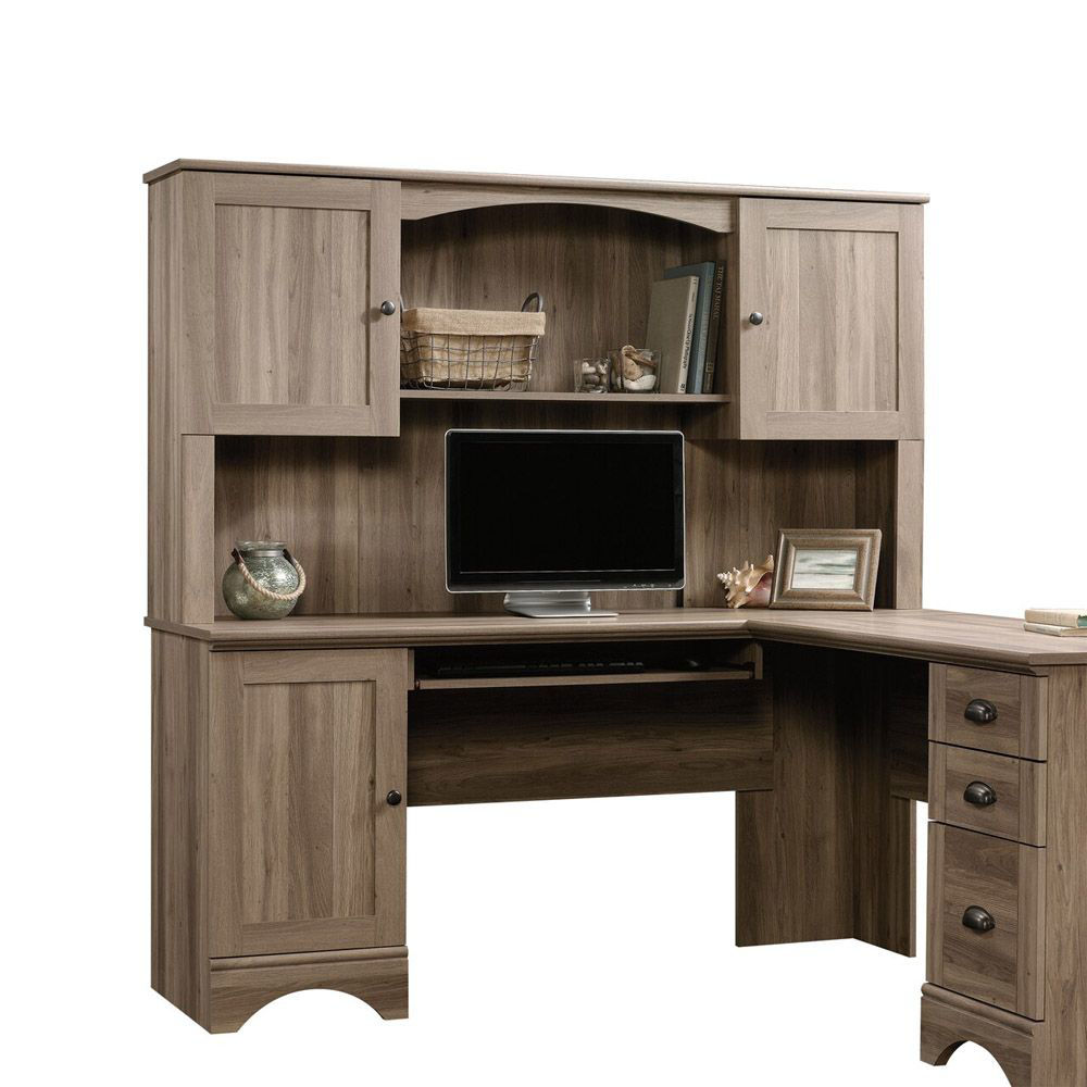 Harbor View Hutch - Salt Oak - Shown With Accessories Not Included