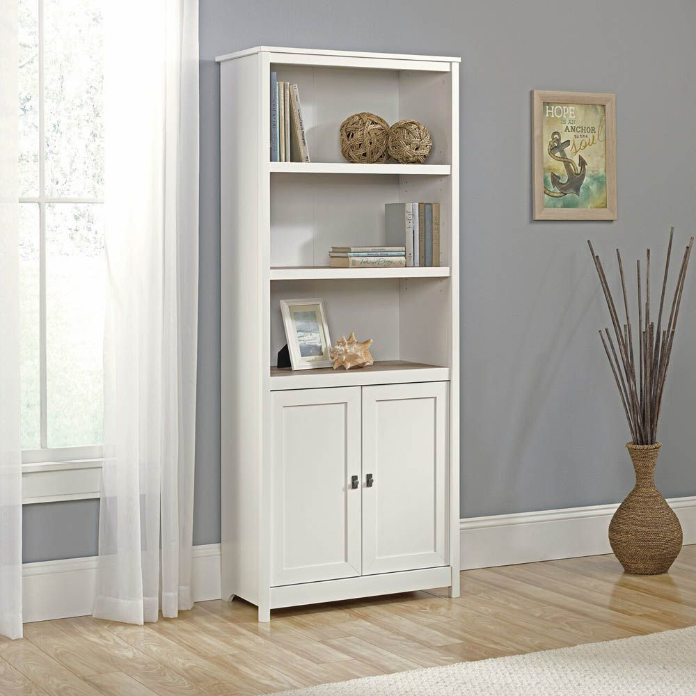 Cottage Road Library With Doors - Soft White - Accessories Not Included - Lifestyle