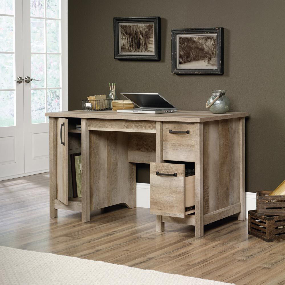 Cannery Bridge Computer Desk - Lintel Oak - Accessories Not Included - Lifestyle Open
