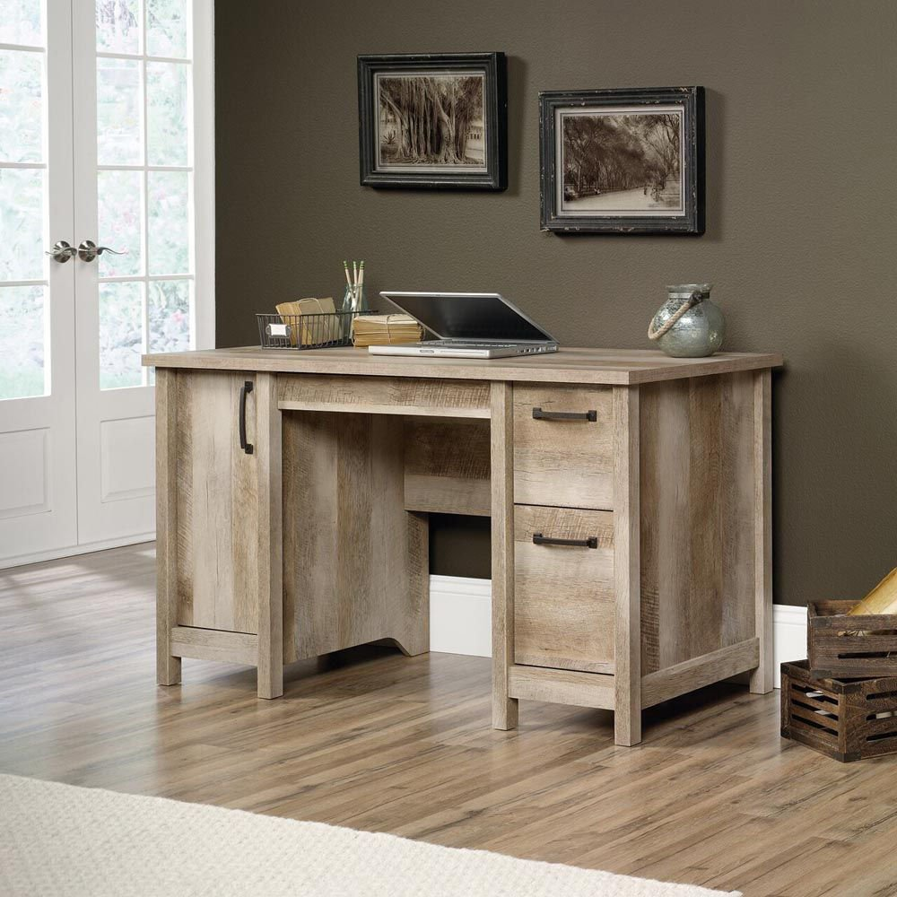 Cannery Bridge Computer Desk - Lintel Oak - Accessories Not Included - Lifestyle