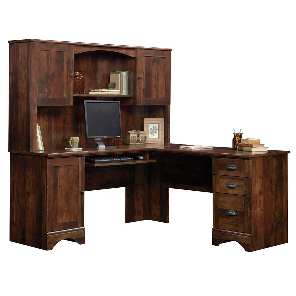 Harbor View Hutch - Cherry - Curado Cherry - Shown With Accessories and Desk Sold Separately