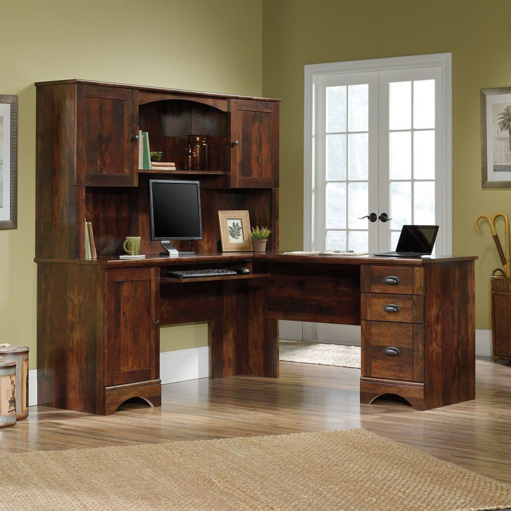 Harbor View Hutch - Cherry - Curado Cherry - Shown With Accessories and Desk Sold Separately - Lifestyle