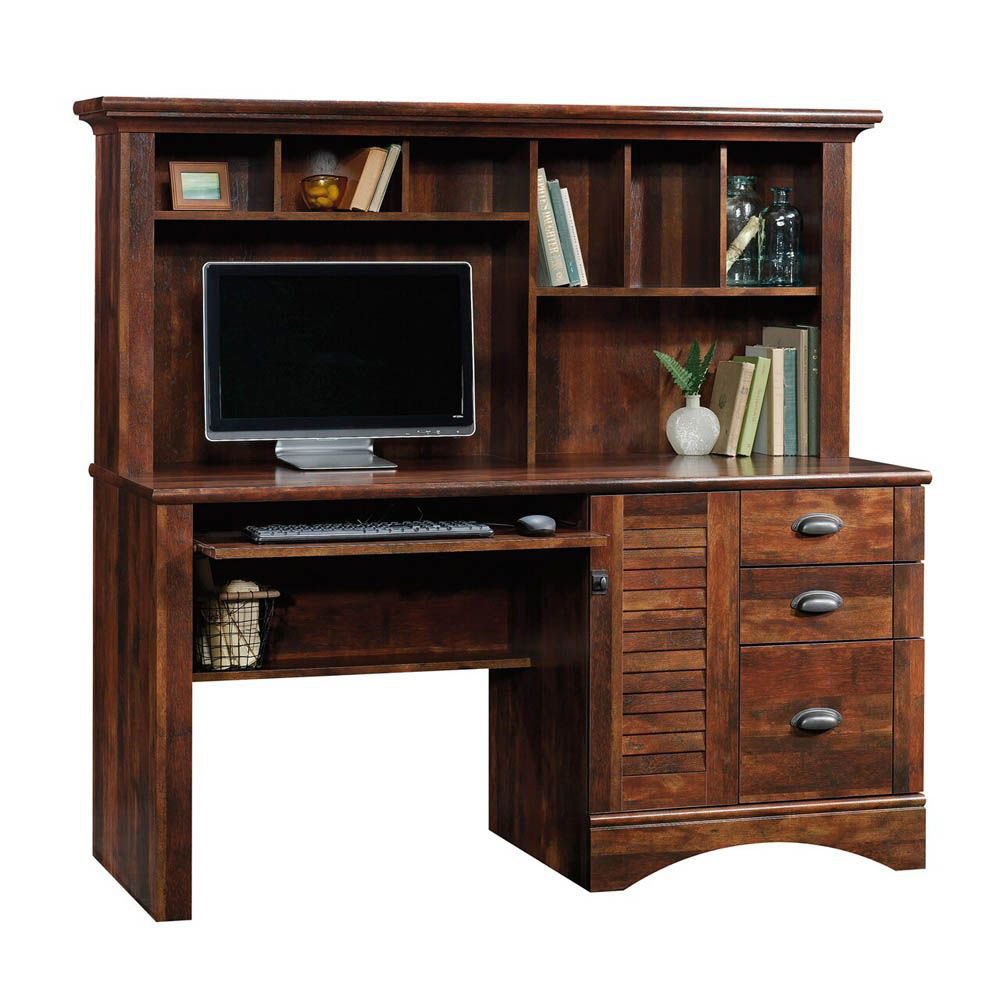 Harbor View Computer Desk With Hutch - Curado Cherry - Shown With Accessories