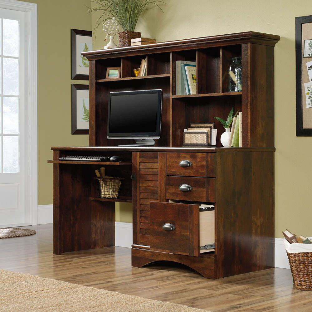 Harbor View Computer Desk With Hutch - Curado Cherry - Lifestyle