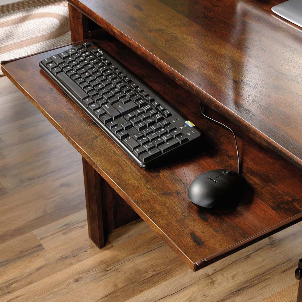 Harbor View Computer Desk With Hutch - Curado Cherry - Keyboard & Mouse Storage