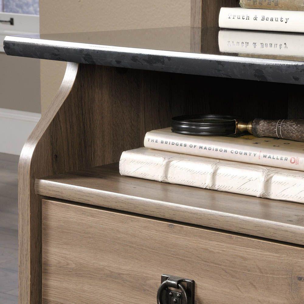 Graham Hill Desk - Salt Oak - Shown With Accessories Not Included - Shelves