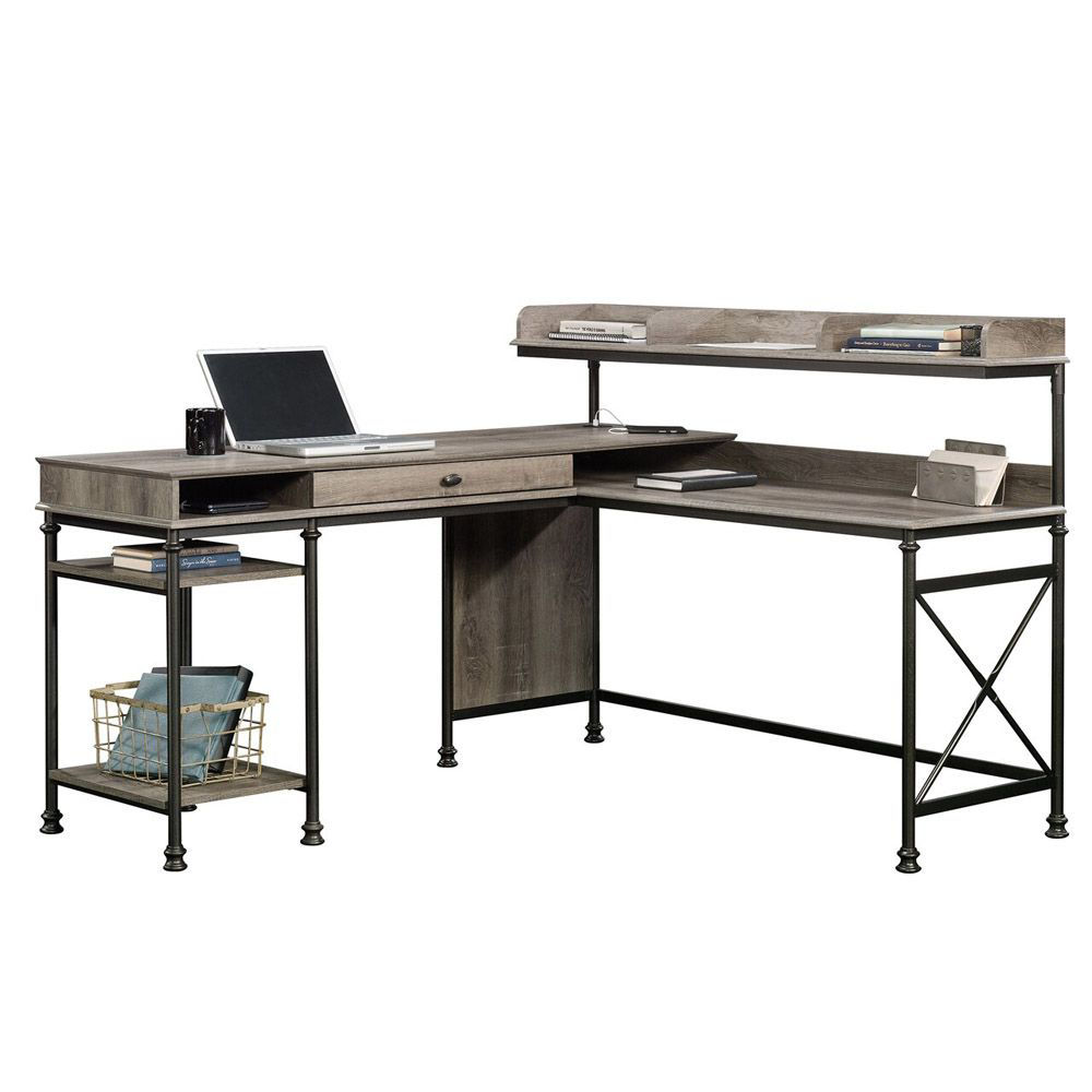 Canal Street L-Desk - Northern Oak - Accessories Not Included