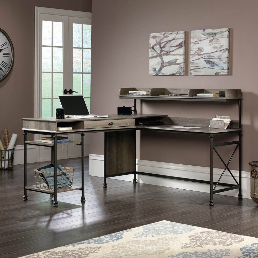 Canal Street L-Desk - Northern Oak - Accessories Not Included - Lifestyle