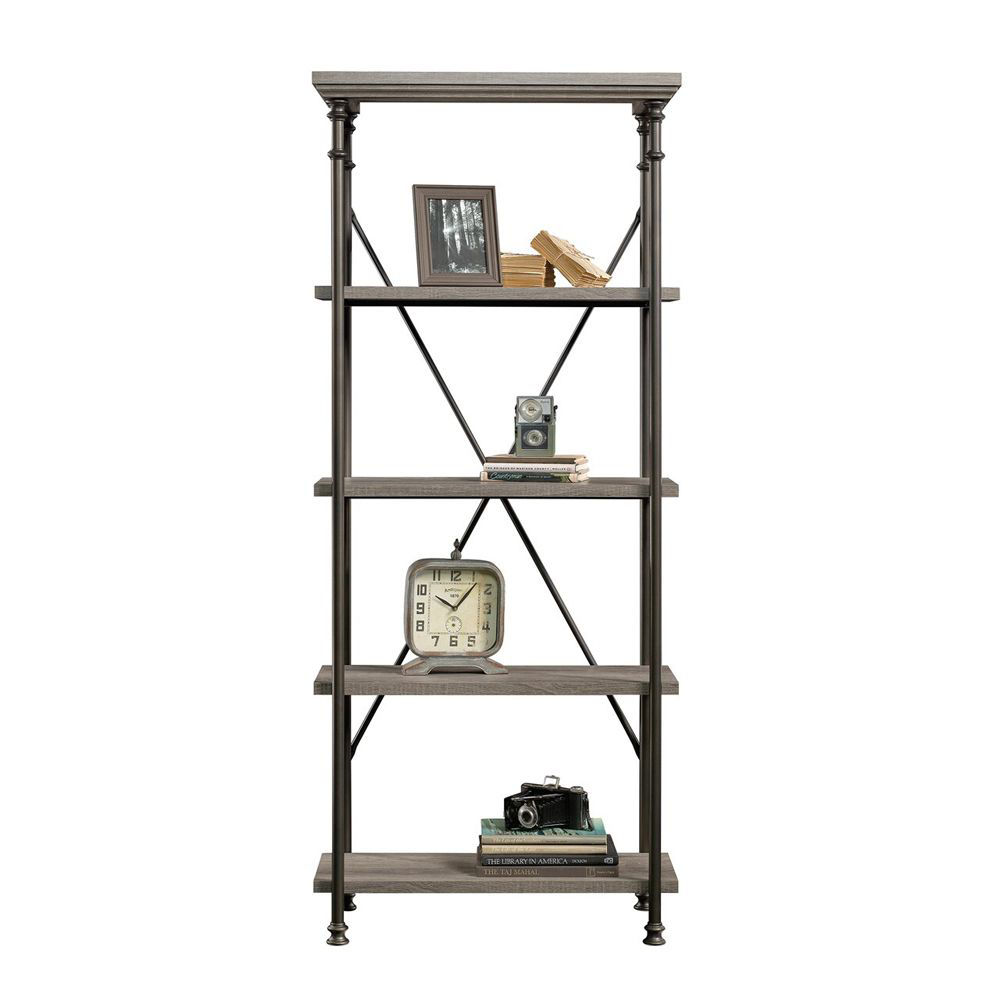 Canal Street 5-Shelf Bookcase - Northern Oak - Accessories Not Included - Head On View