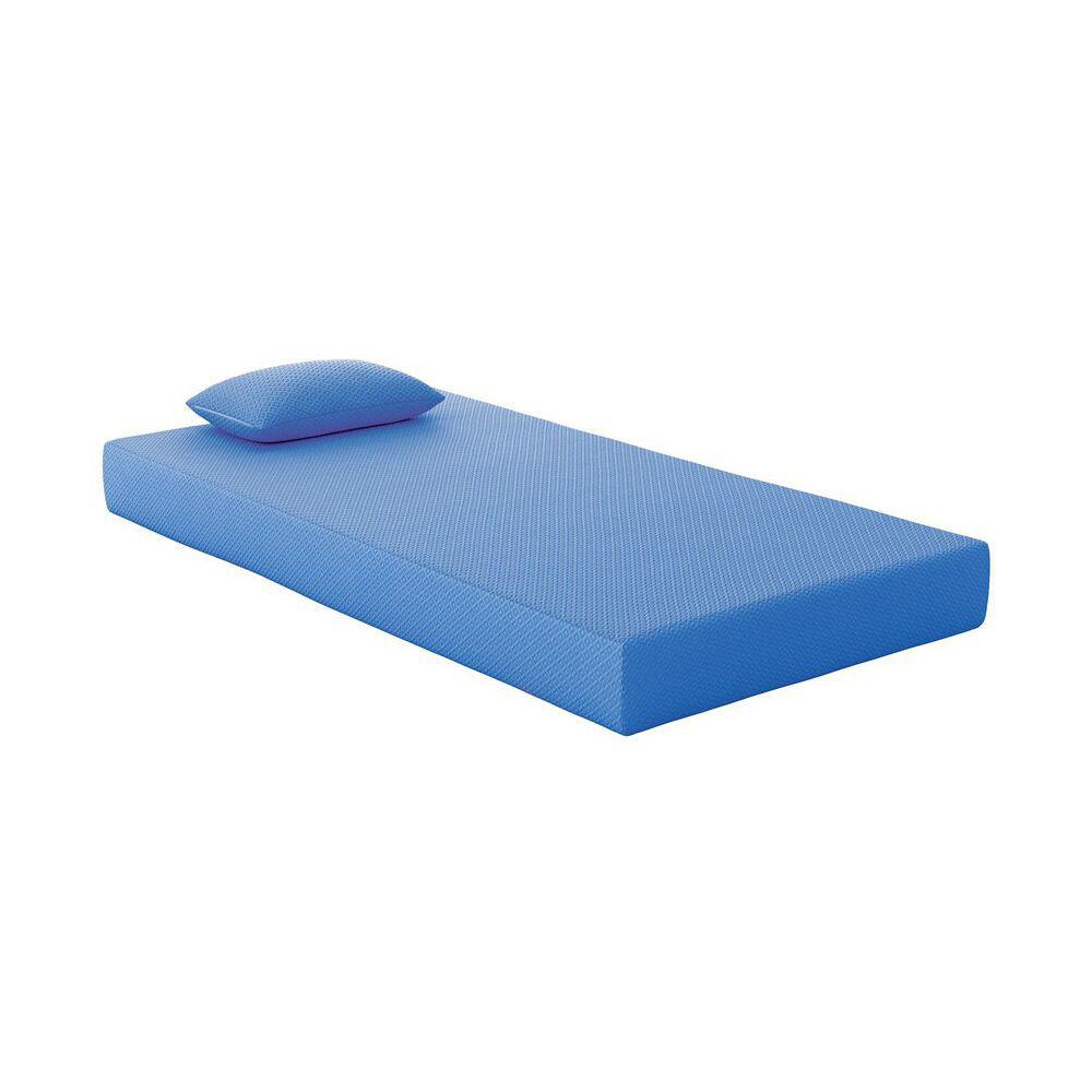 Youth Blue Memory Foam Mattress and Pillow - Twin