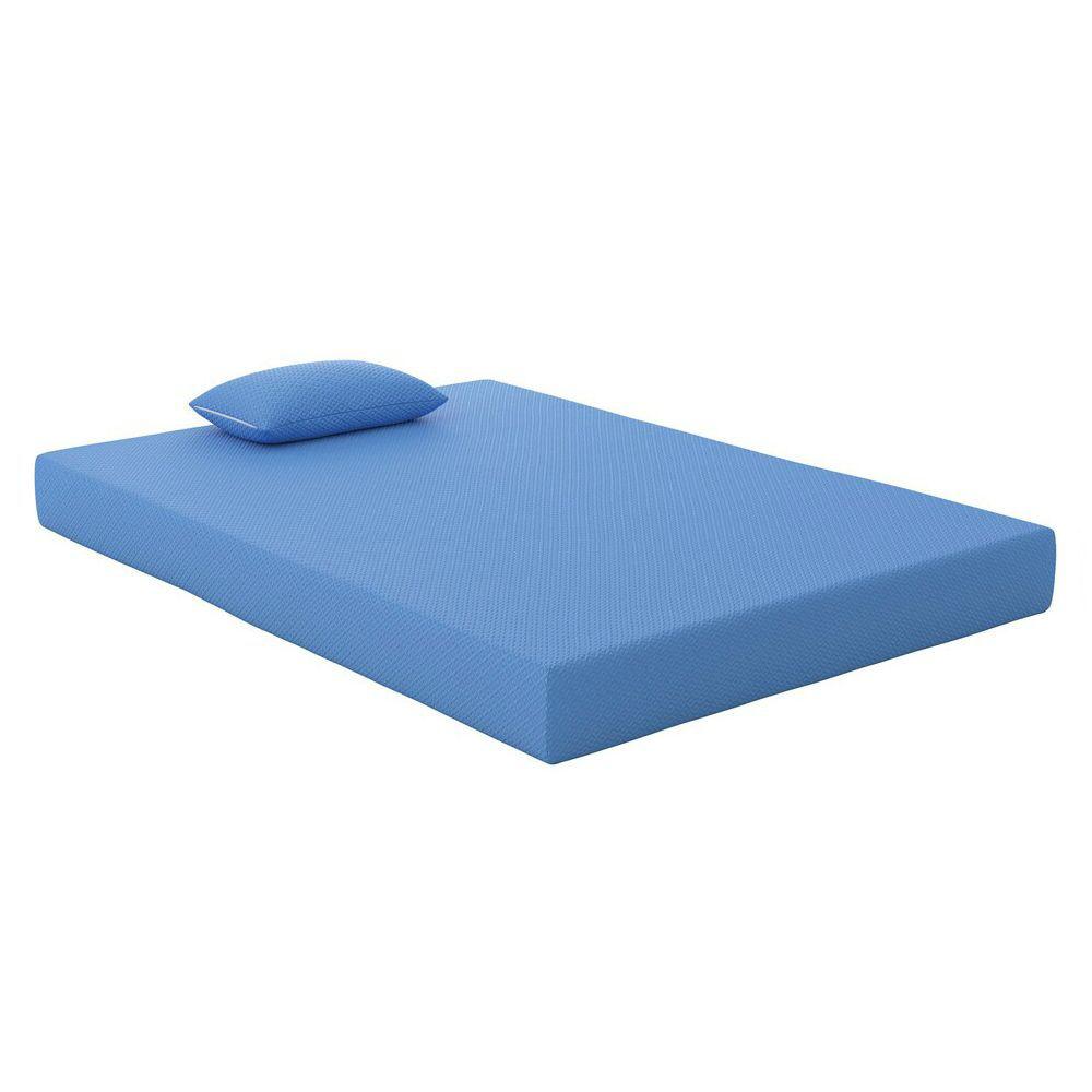Youth Blue Memory Foam Mattress and Pillow - Full