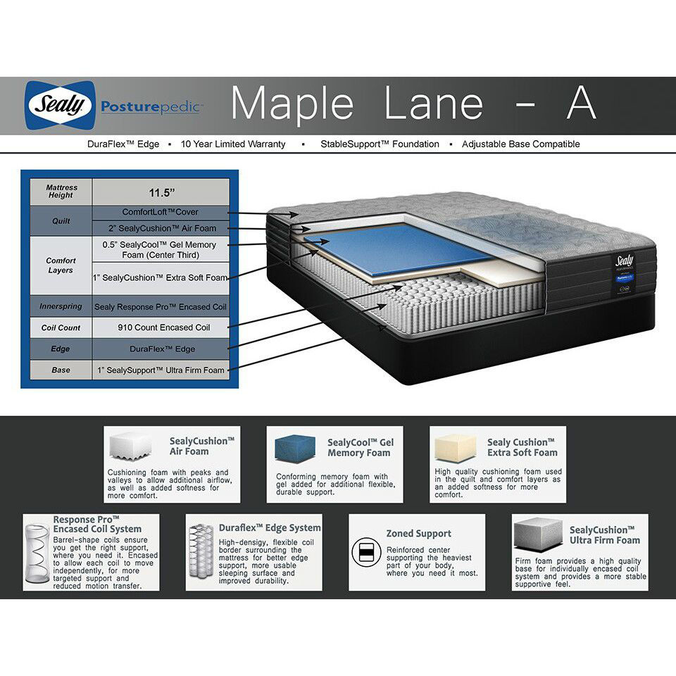 Maple Lane Firm Mattress by Sealy - Details