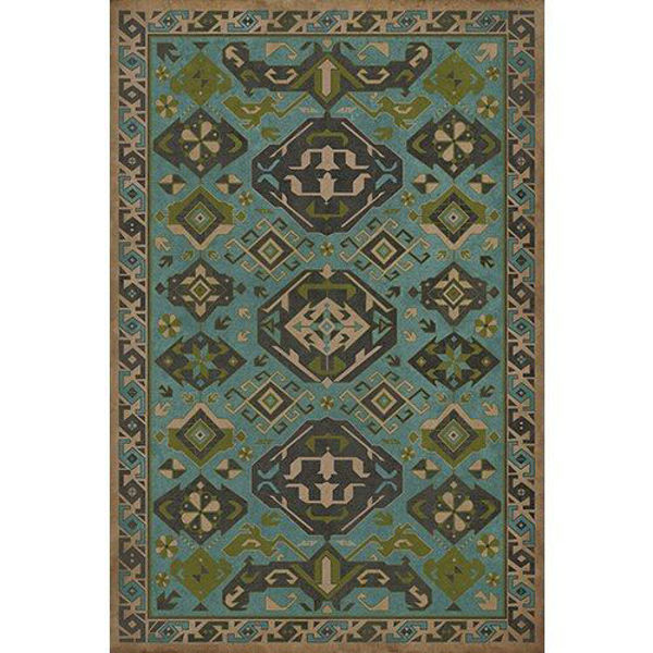 Picture of Williamsurg Stone Blue Traditional - Vinyl Floorcloth - 72 x 102