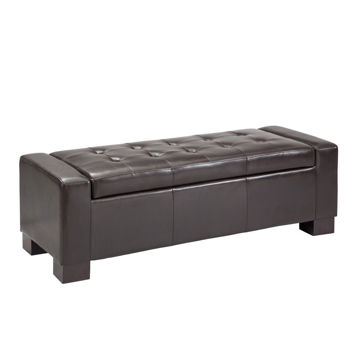 Serre Tufted Storage Bench - Chocolate