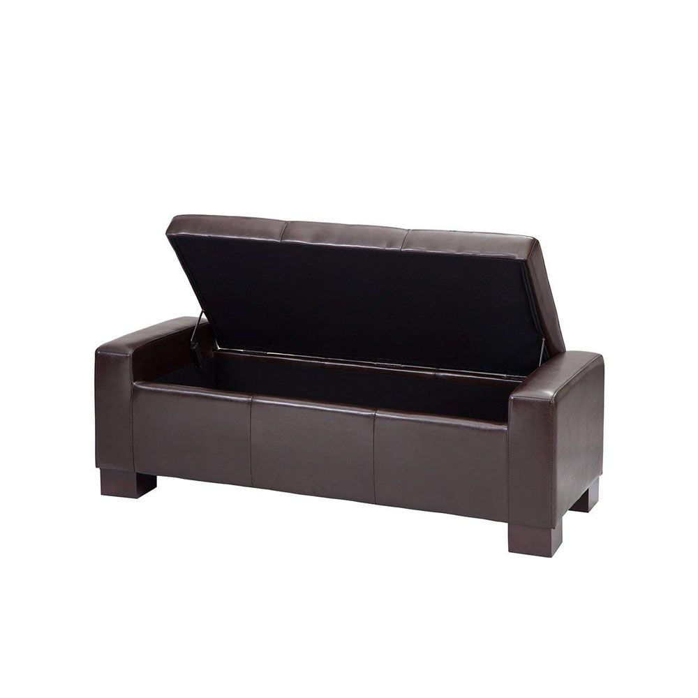 Serre Tufted Storage Bench - Chocolate - Open
