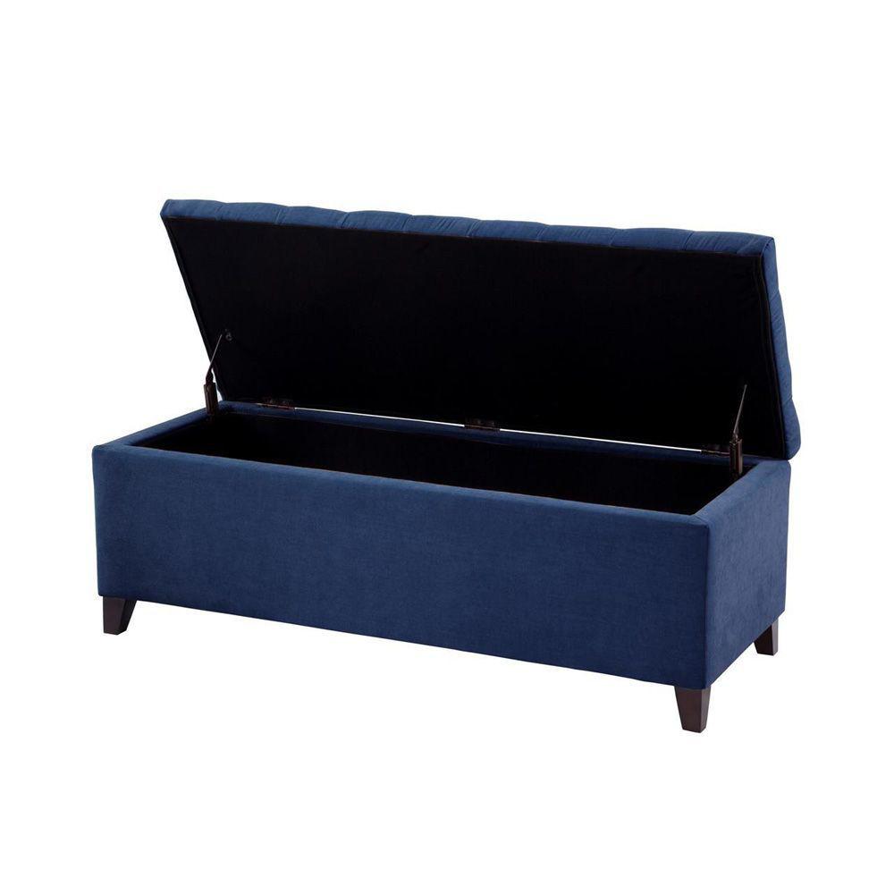 Schmetterling Tufted Storage Bench - Blue - Open