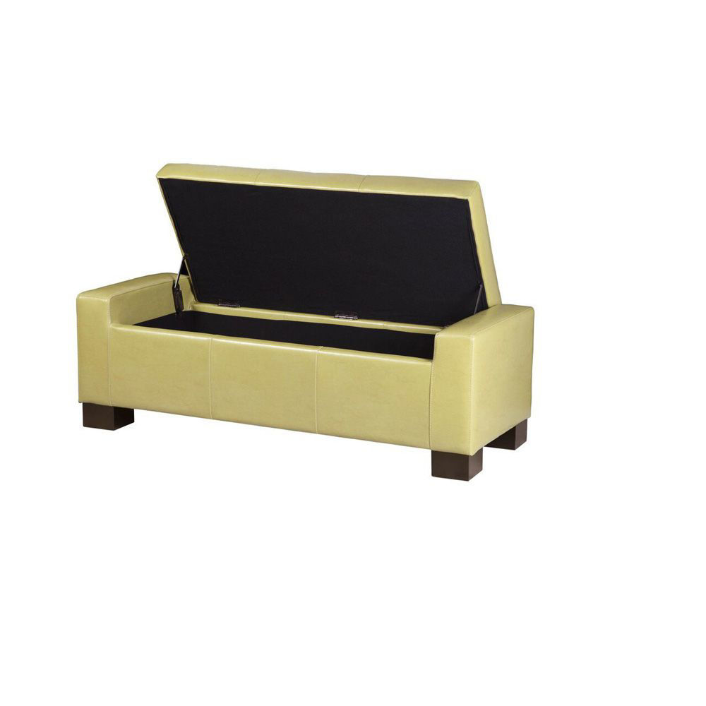 Serre Tufted Storage Bench - Green - Open