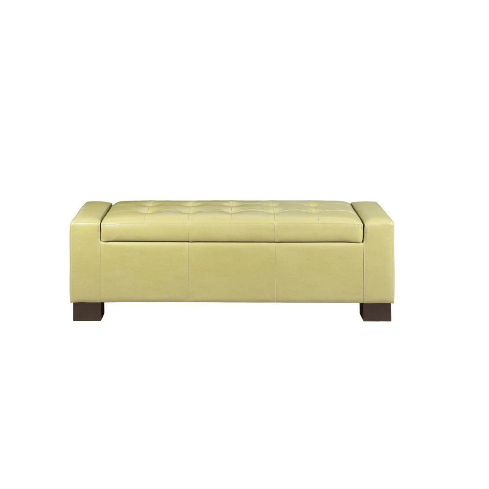 Serre Tufted Storage Bench - Green - Head On View