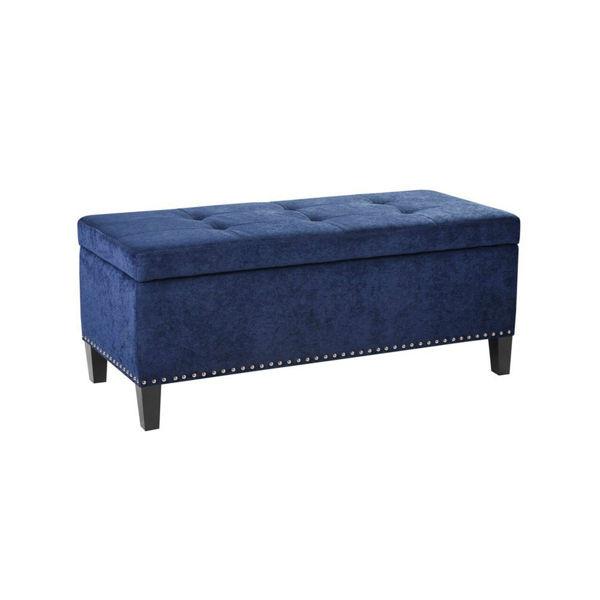 Schmaiah Tufted Storage Bench - Blue