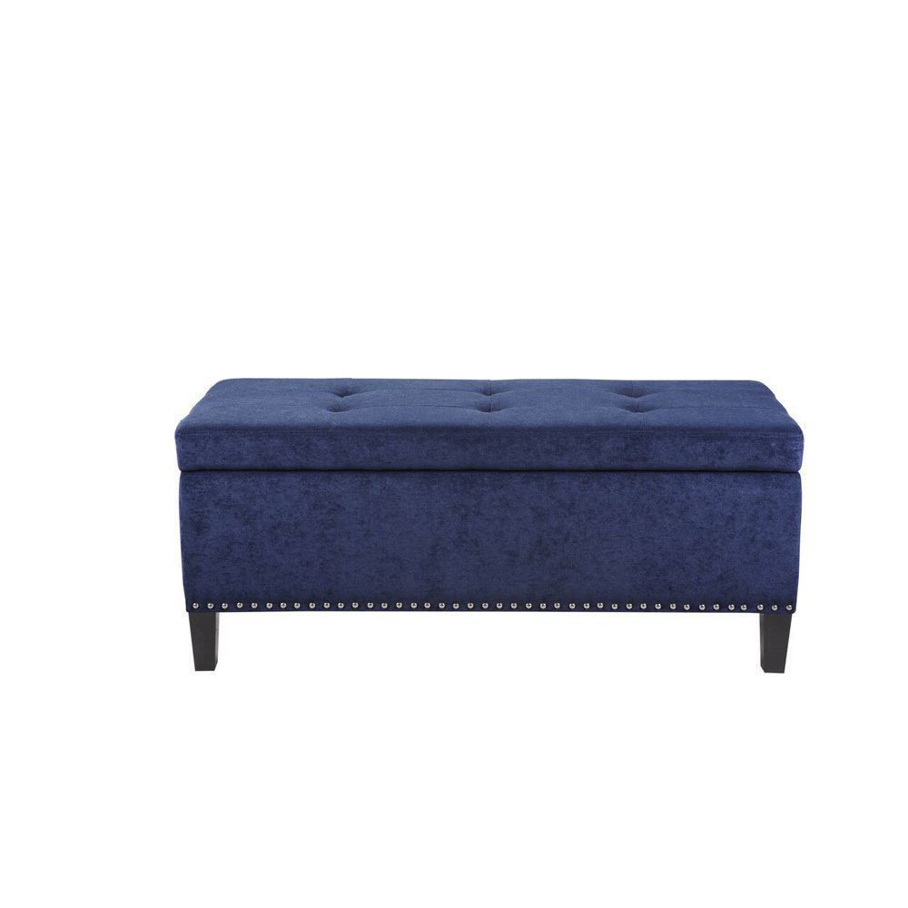 Schmaiah Tufted Storage Bench - Blue - Head On View