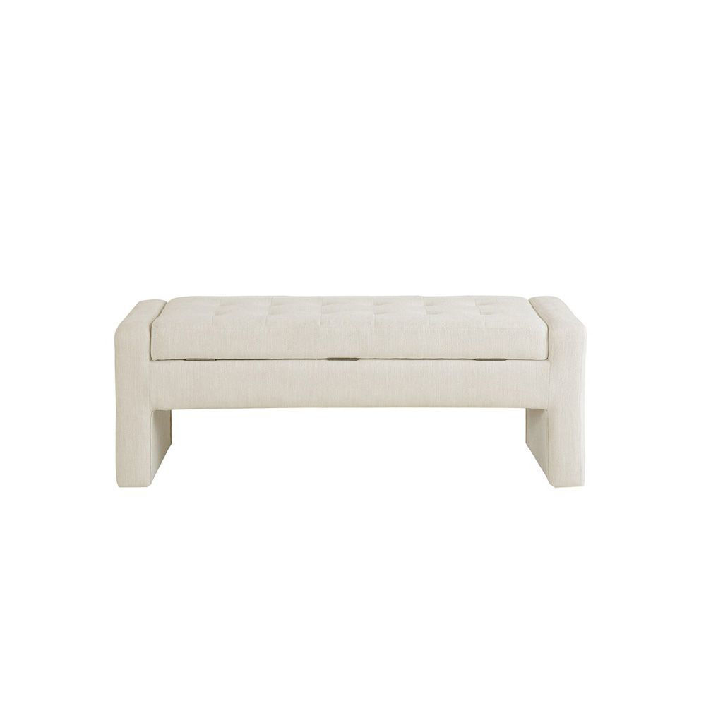 Liliana Storage Bench - Cream - Head On View